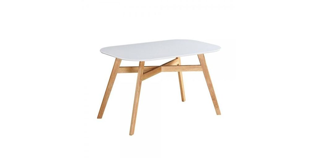 Étkezőasztal, 120x80 cm, fehér-fa - PIERETTE